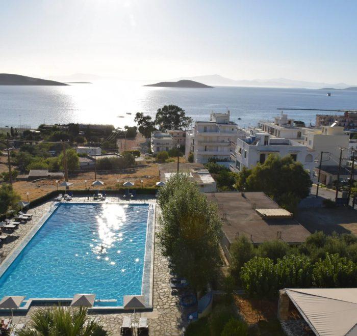 La vue de l'hôtel sur la Baie de Marmari